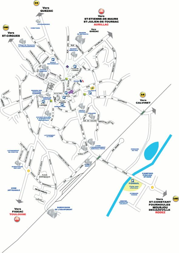 Plan de la ville de Maurs
